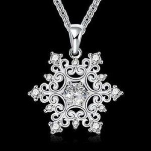 Silver Plated Cubic Zirconia Snowflake Pendant
